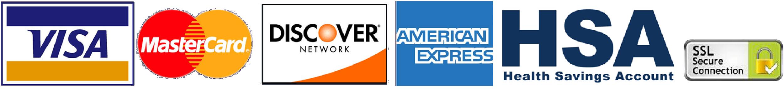 Visa, MasterCard, Discover, American Express, HSA, SSL