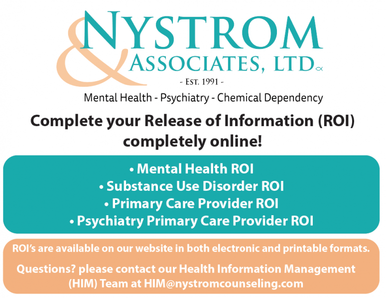 New Online Release Of Information Nystrom Counseling